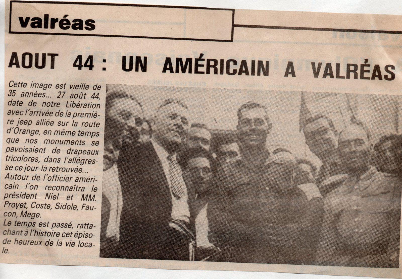27 août 1944 Valréas libérée