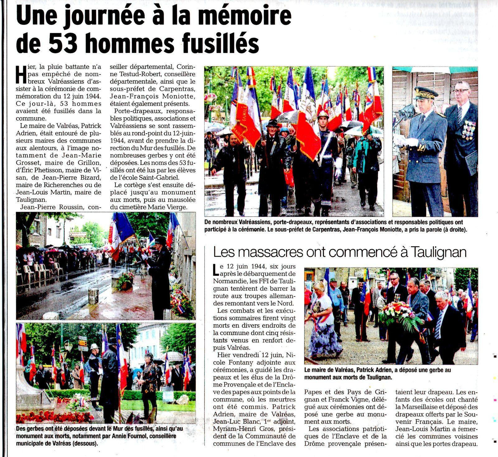 Article Vaucluse-Matin samedi 13 juin 2015 - Serge Haupaix