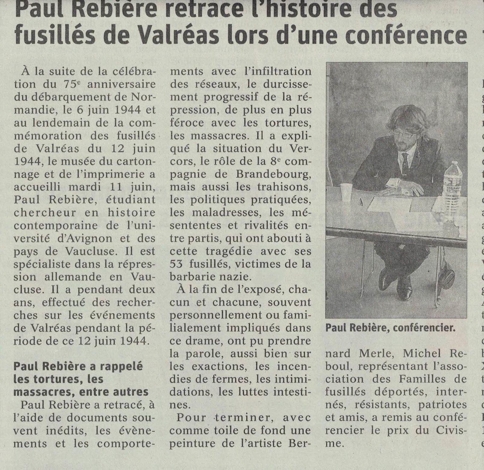 Article Vaucluse-Matin du 13 juin 2019