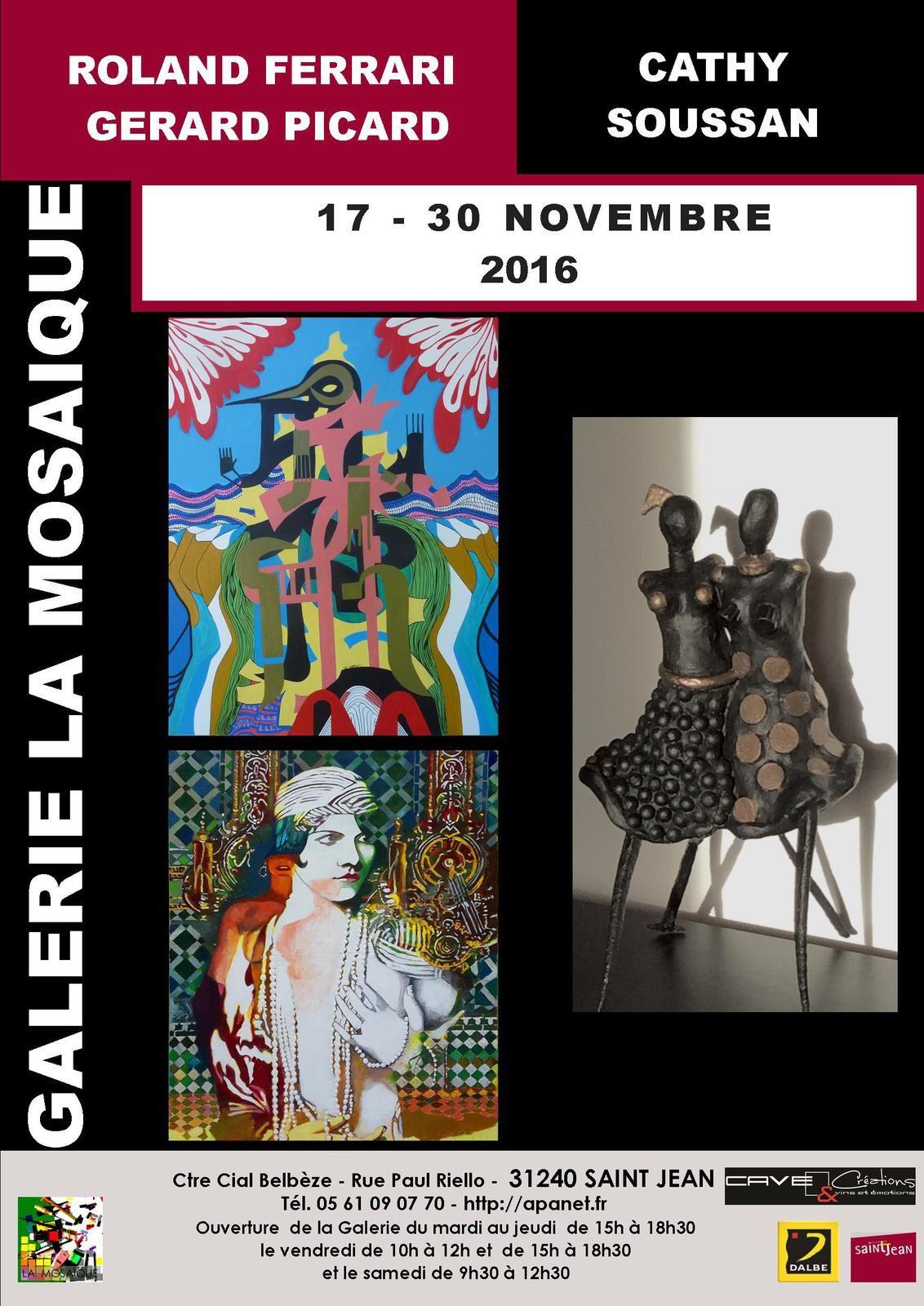 """Exposition Galerie """"la Mosaïque"""" à Saint Jean .Vernissage le 18 nov.à 18h30"""