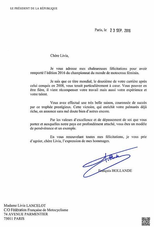 Source FFM - Lettre adressé par le Président de la République.