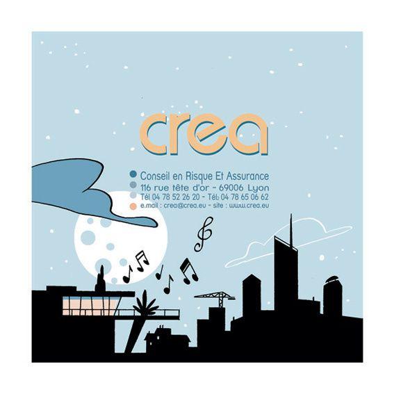 Carte de voeux pour la société d'assurance CREA, spécialisée dans la construction.