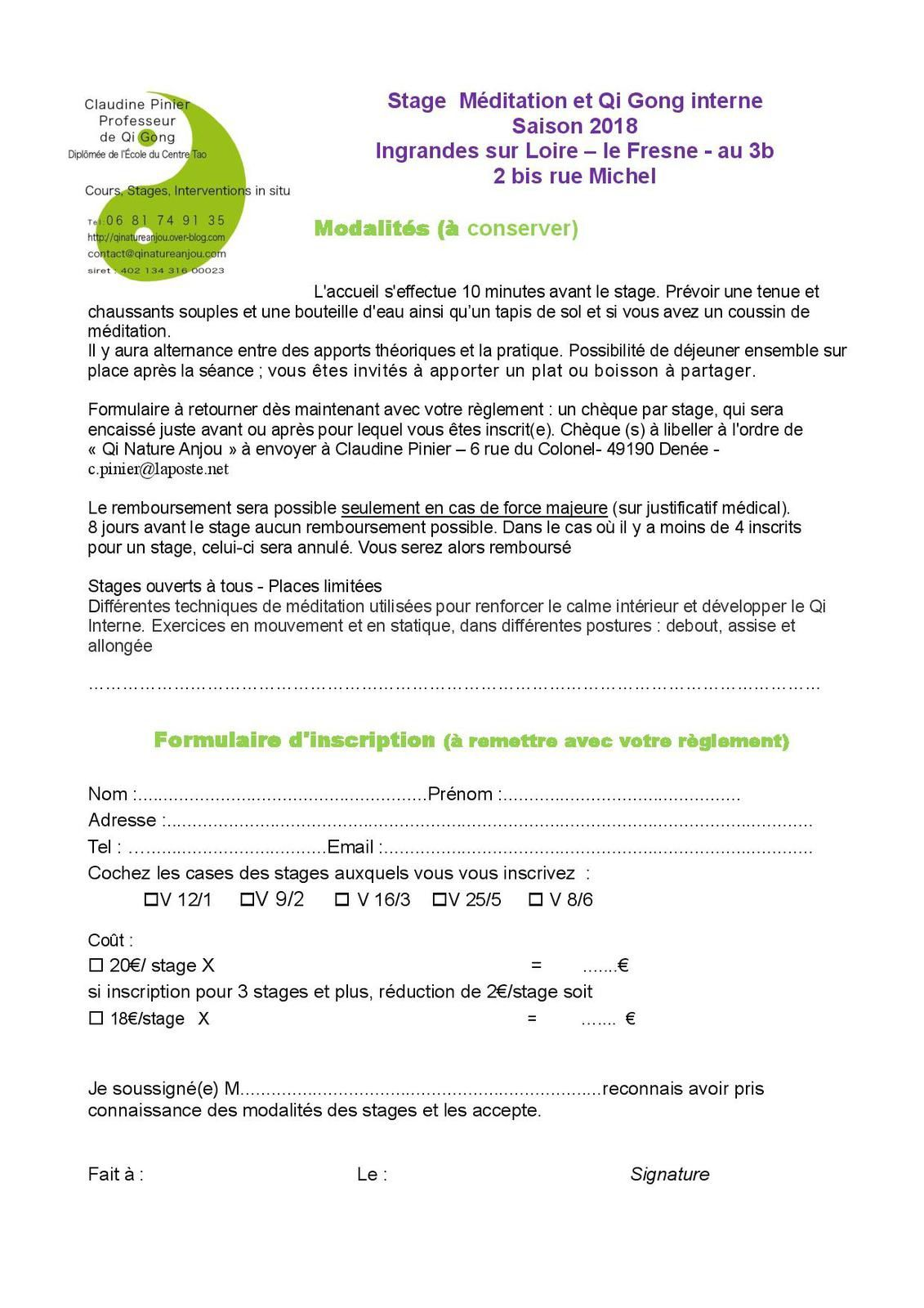bulletin d'inscription cours méditation et Qi gong interne à Ingrandes