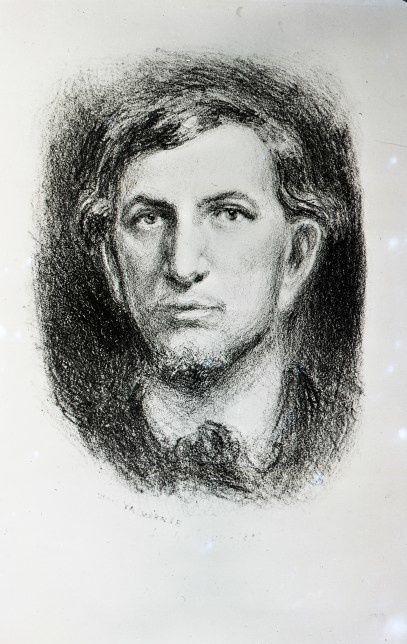 Charles-Maurras à 24 ans (dessin exécuté en 1892 par Louis Denis-Valvérane)