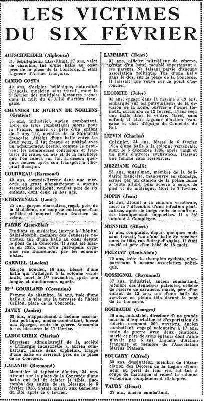 IL Y A 85 ANS : LE 6 FÉVRIER 1934 ET L'OCCASION MANQUÉE DU 7 FÉVRIER