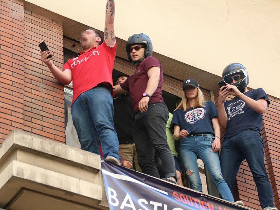 13 juin 2017 : des militants du BS, lors de l'intervention policière contre l'occupation d'un immeuble lyonnais
