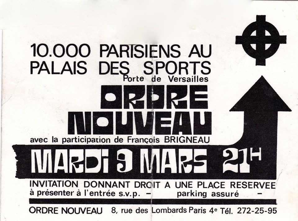 Affiche du grand meeting du 9 mars 1971 au Palais des sports de Paris