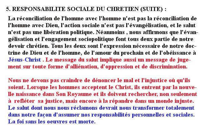 DÉCLARATION DE LAUSANNE SUR LA RESPONSABILITÉ SOCIALE DU CHRÉTIEN (SUITE)