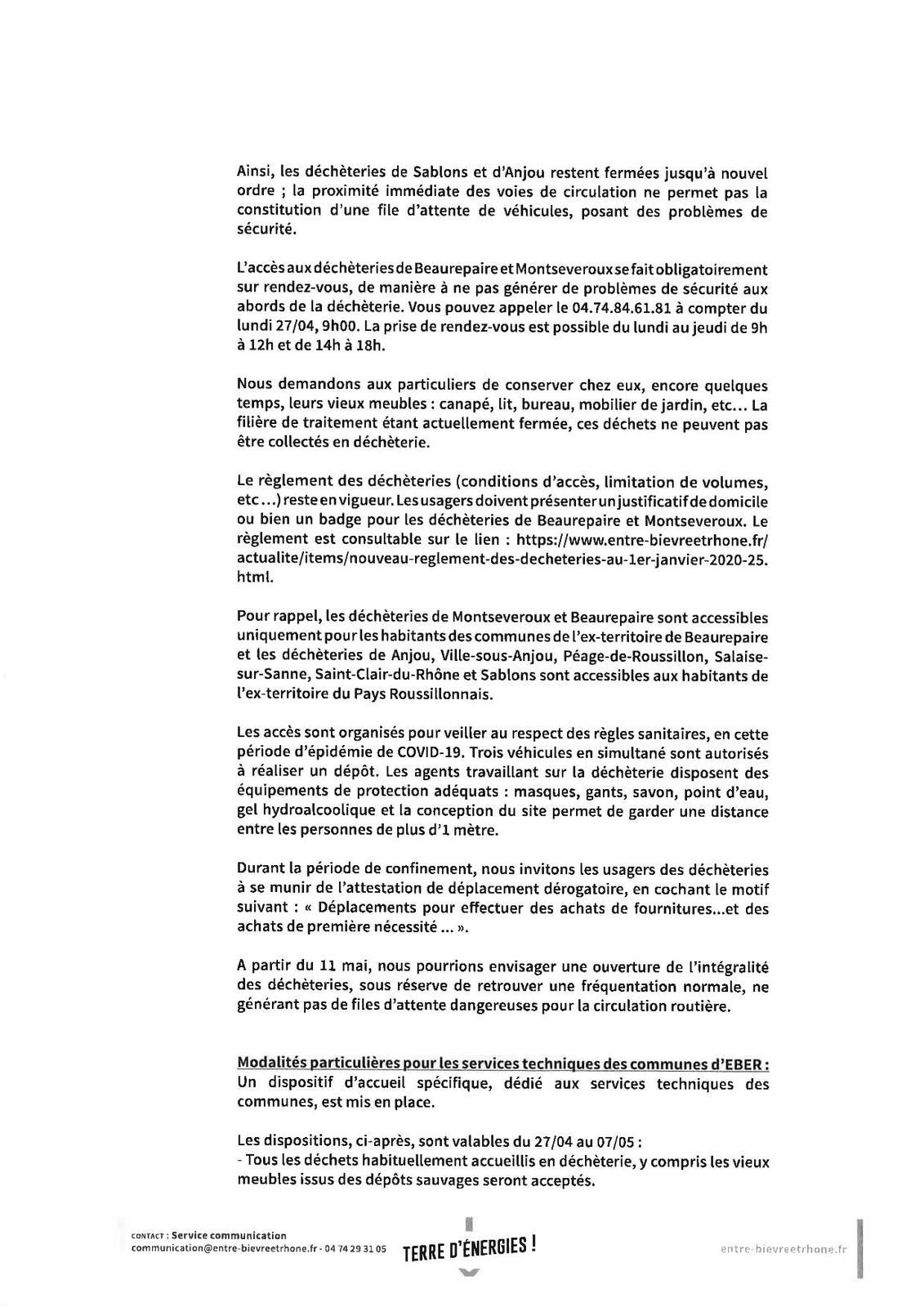 REOUVERTURE DES DECHETERIES INTERCOMMUNALES