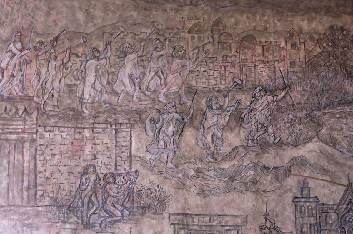 """""""L'Histoire du monde Juif"""" - Tempera sur toile - 5 mètres x 3 - Raymond Dumoux - 2019 (détail)"""