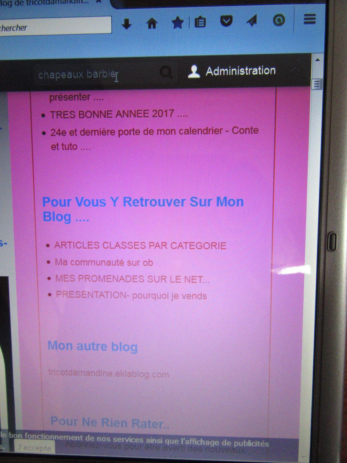 Mini mode d'emploi pour mon blog ....