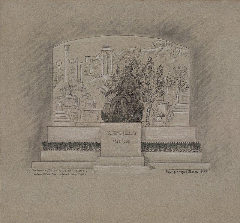Projet de monument à Joachim Du Bellay, Alfred Benon, dessin, 1938 © Musées d'Angers