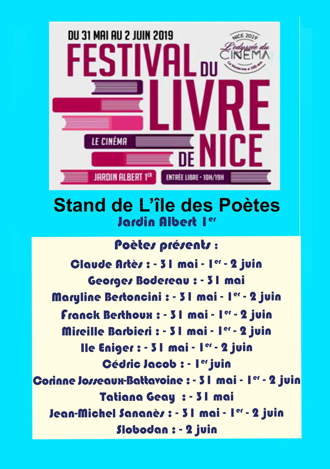 Festival du Livre de Nice - 31 mai, 1er et 2 juin 2019