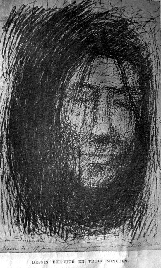 Quelques dessins de Fernand Desmoulin pendant sa traversée spirite, entre 1900 et 1902. Visibles au Musée de l'Abbaye de Brantôme.