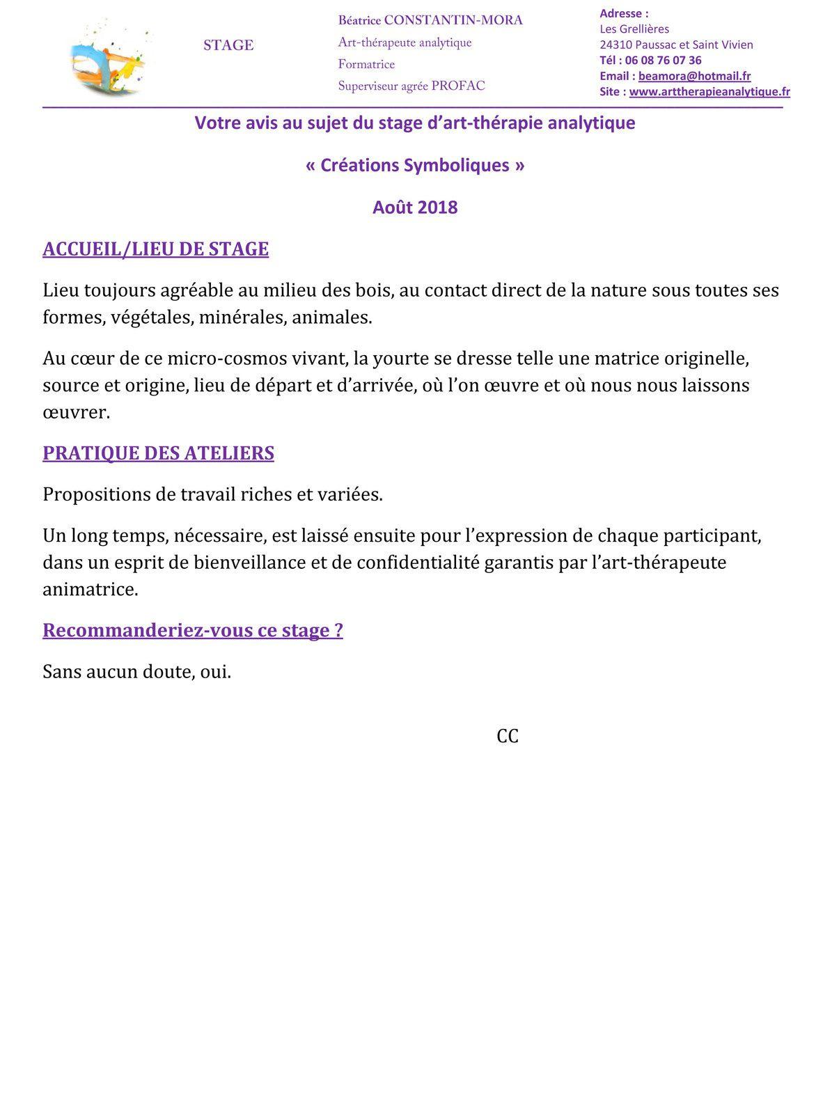 Stage d'art-thérapie analytique Créations Symboliques Paussac et Saint Vivien, près de Bratôme