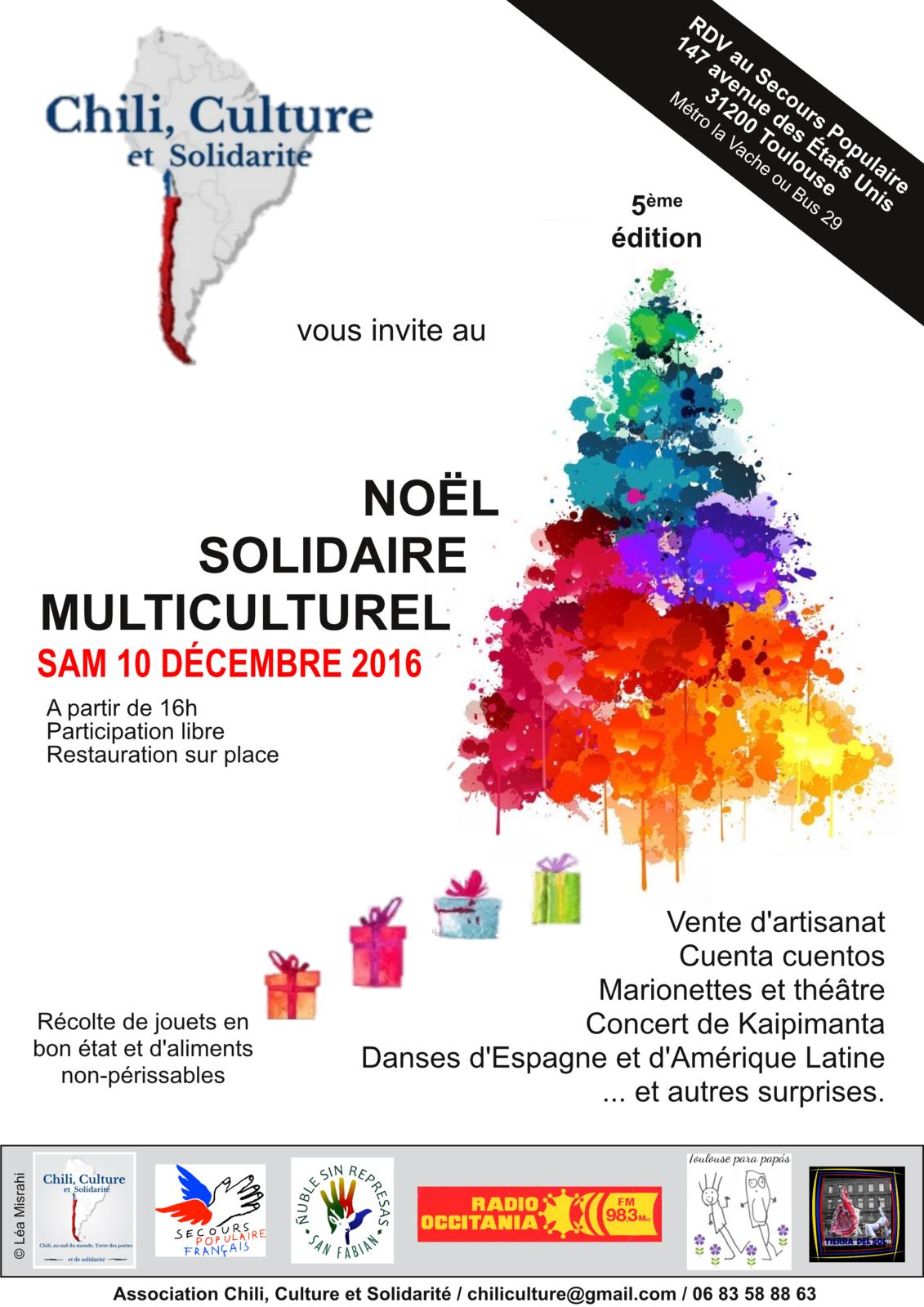 """Samedi 10 décembre, 5ème édition """"Noël Solidaire Multiculturel""""en partenariat avec l'association """"Toulouse para Papás"""""""
