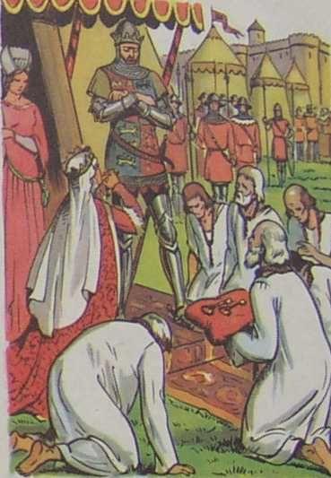 la social-démocratie plaidant auprès du grand capital, ou Calais, La reine Philippa de Hainaut plaide en faveur des bourgeois de Calais (manuel scolaire cours élémentaire 1960)