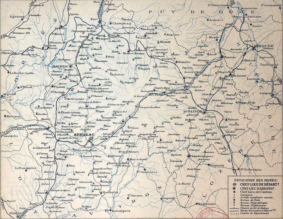 carte du réseau ferroviaire (cantal 1919)
