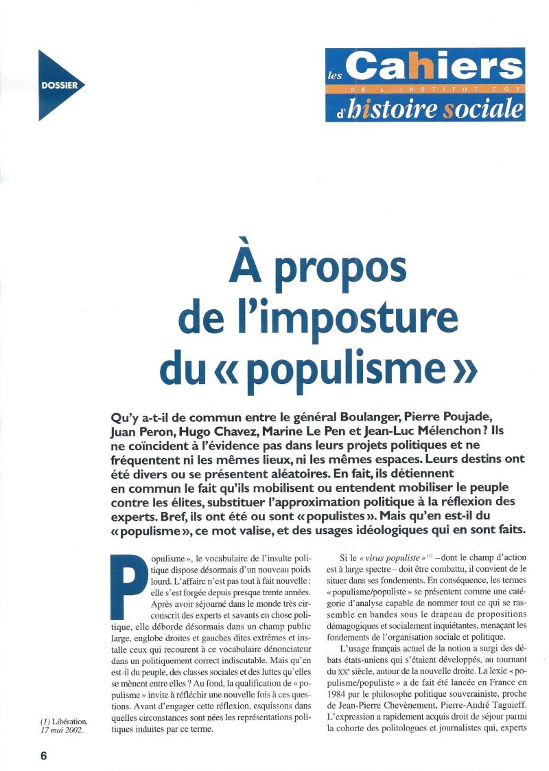 Populisme ? Vous avez dit populisme ?