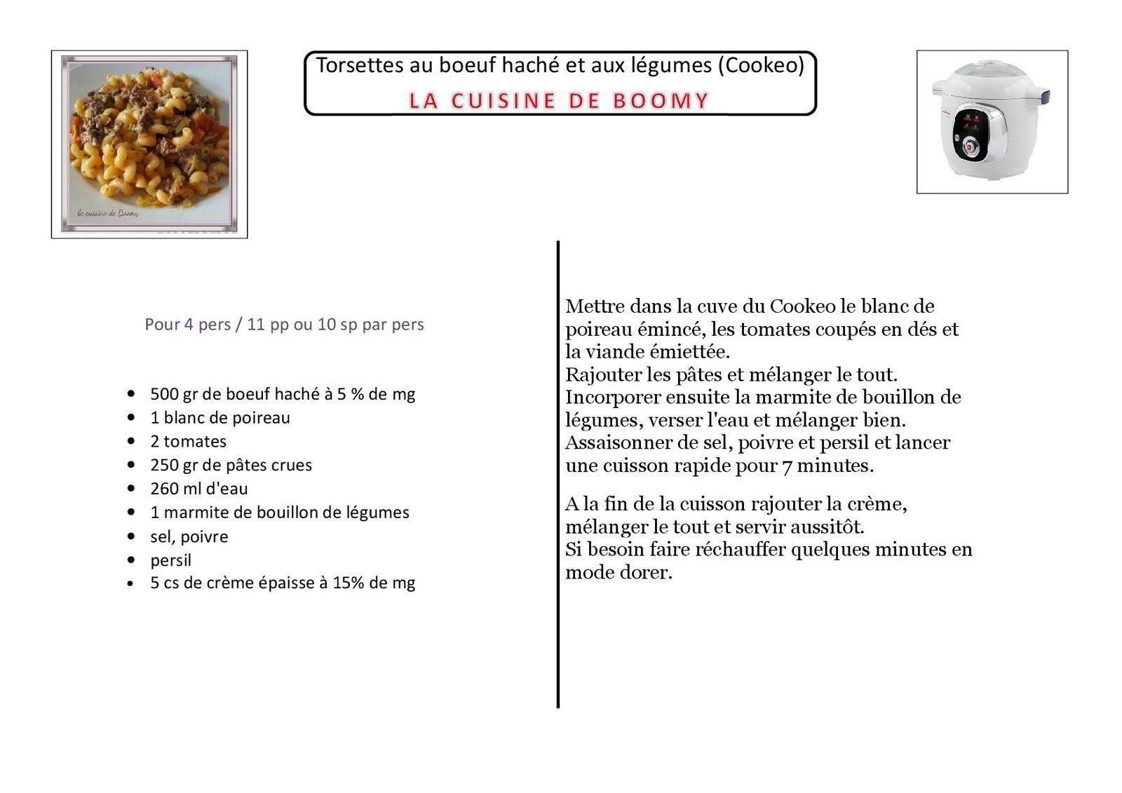 Torsettes au boeuf  haché et aux légumes  (Cookeo)
