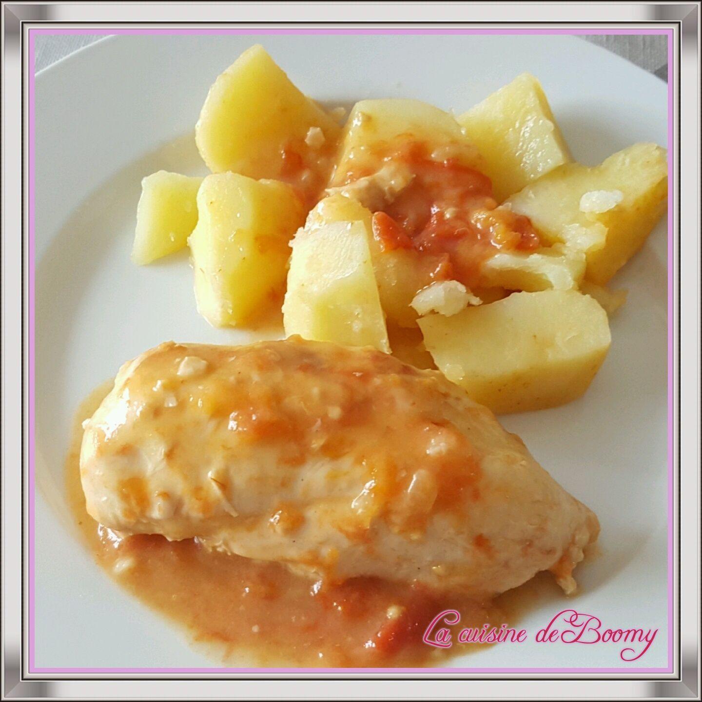 Filet de poulet sauce tomate la cr me et ses pommes de terre cookeo la cuisine de boomy - Pommes de terre a la braise ...