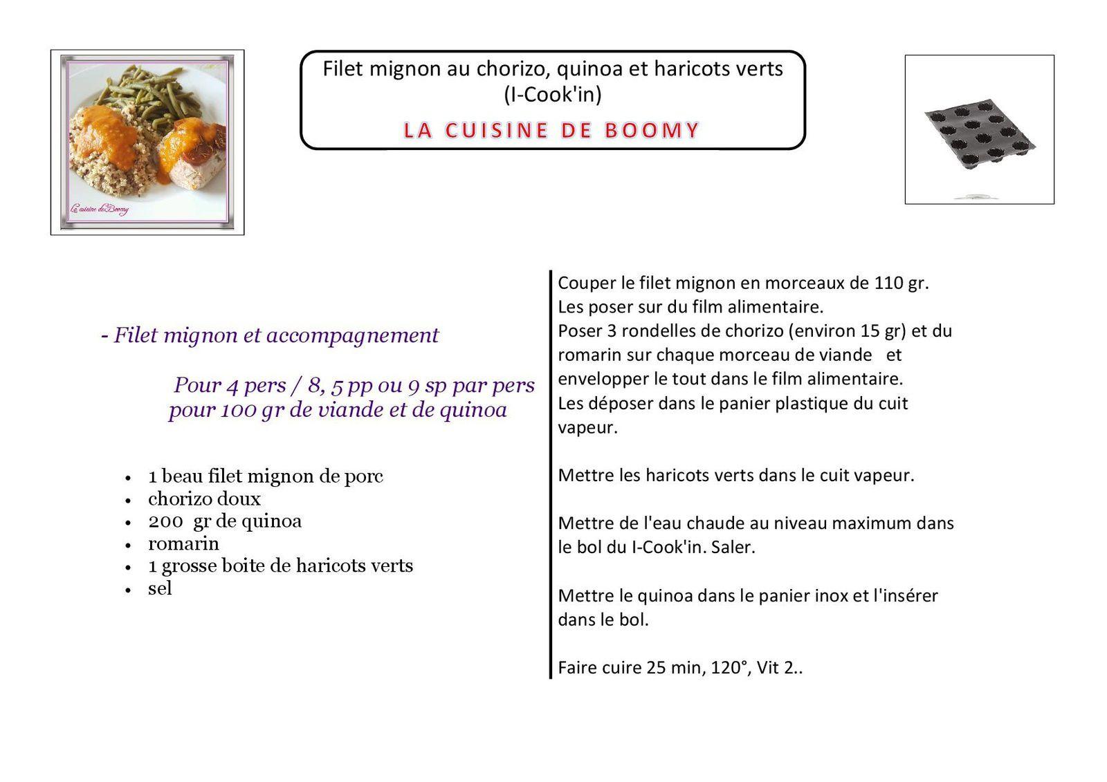 Filet mignon au chorizo, quinoa et haricots verts (I-Cook'in)