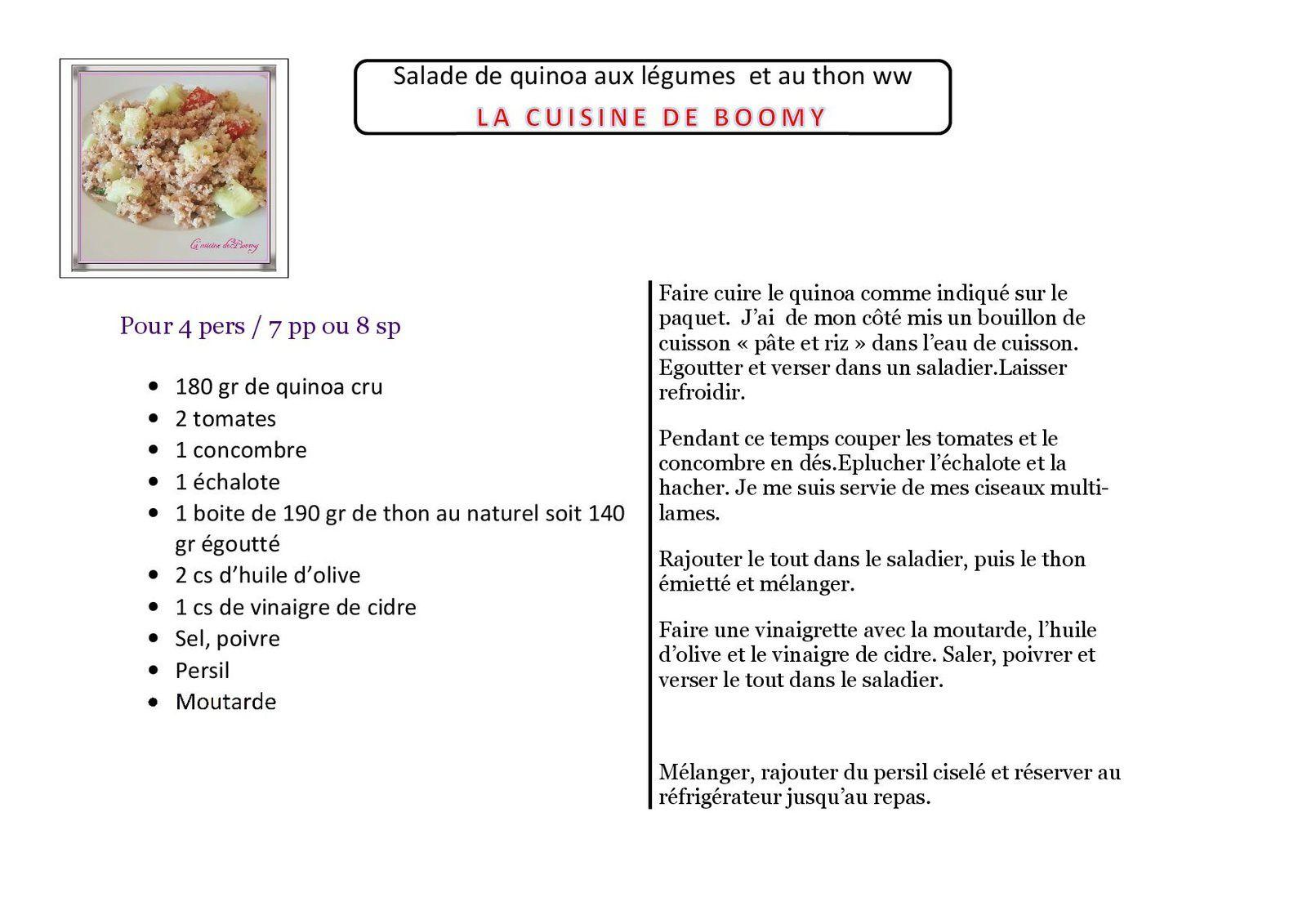 Salade de quinoa aux légumes  et au thon ww