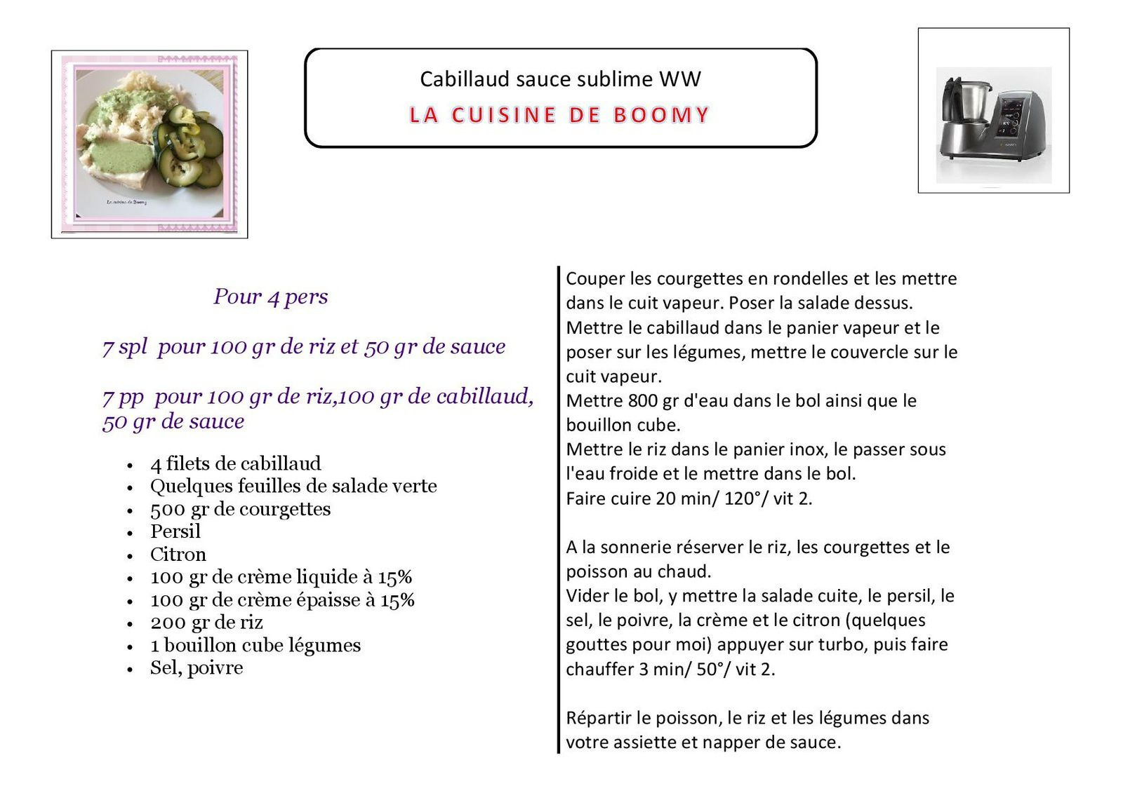 Cabillaud sauce sublime WW au I-Cook'in
