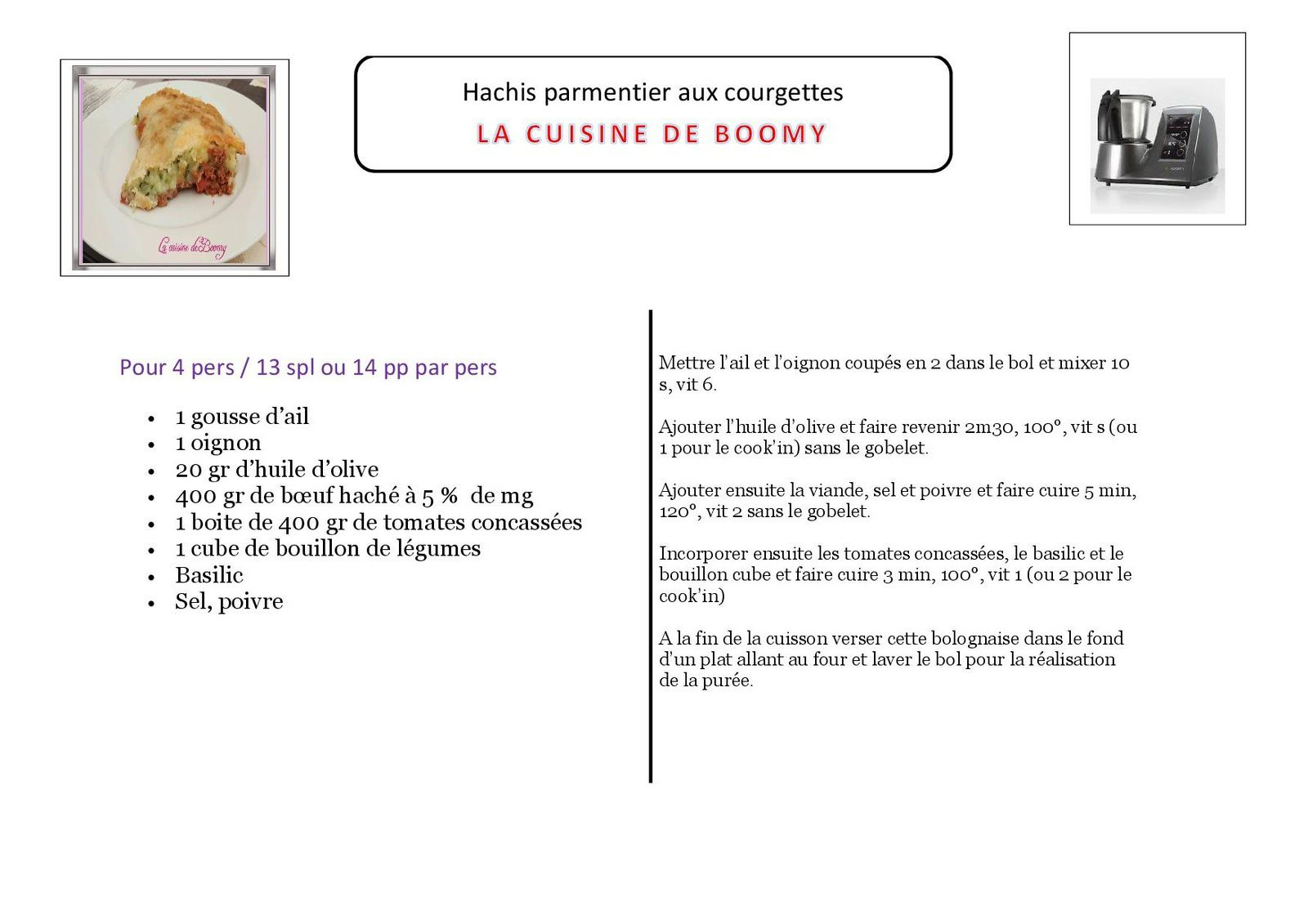 Hachis parmentier aux courgettes  (I-Cook'in)