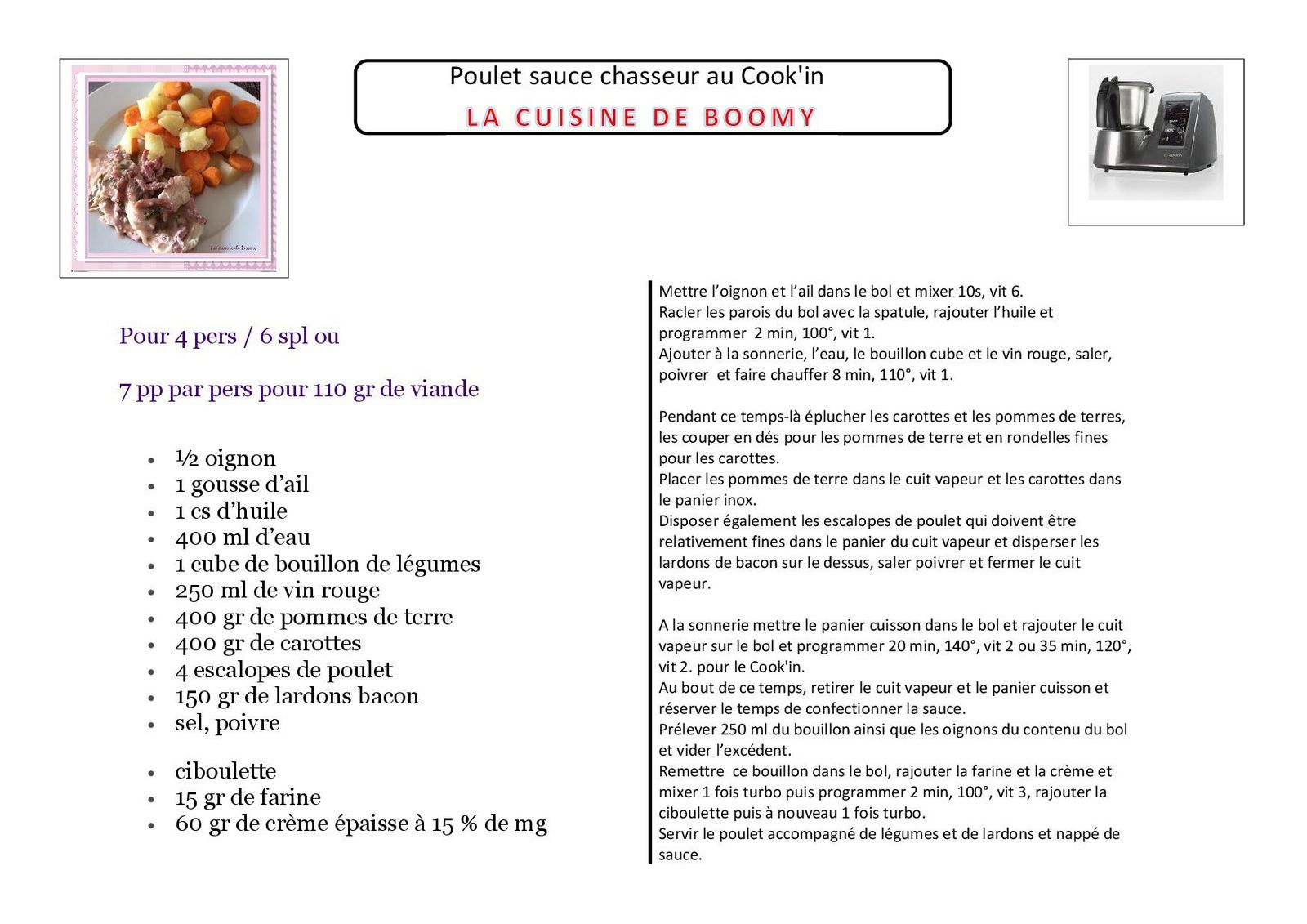 Poulet sauce chasseur au Cook'in WW