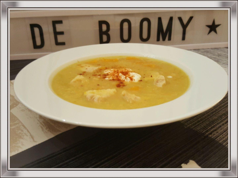 Soupe de potimarron et lentilles corail au poulet (Cookeo)