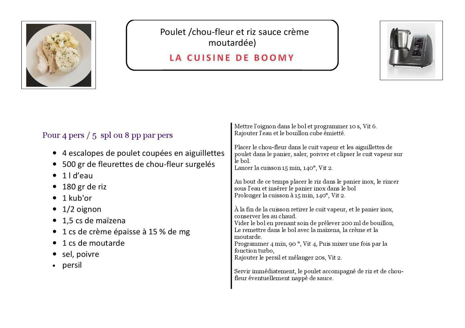 Poulet /chou-fleur et riz sauce crème moutardée (I-Cook'in)