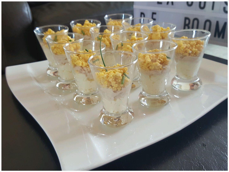 Verrines thon mayonnaise / oeufs mimosa