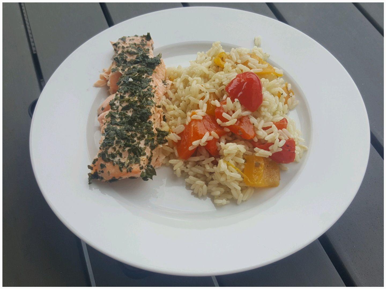 Pavé de saumon au basilic et son riz au poivron (I-Cook'in)