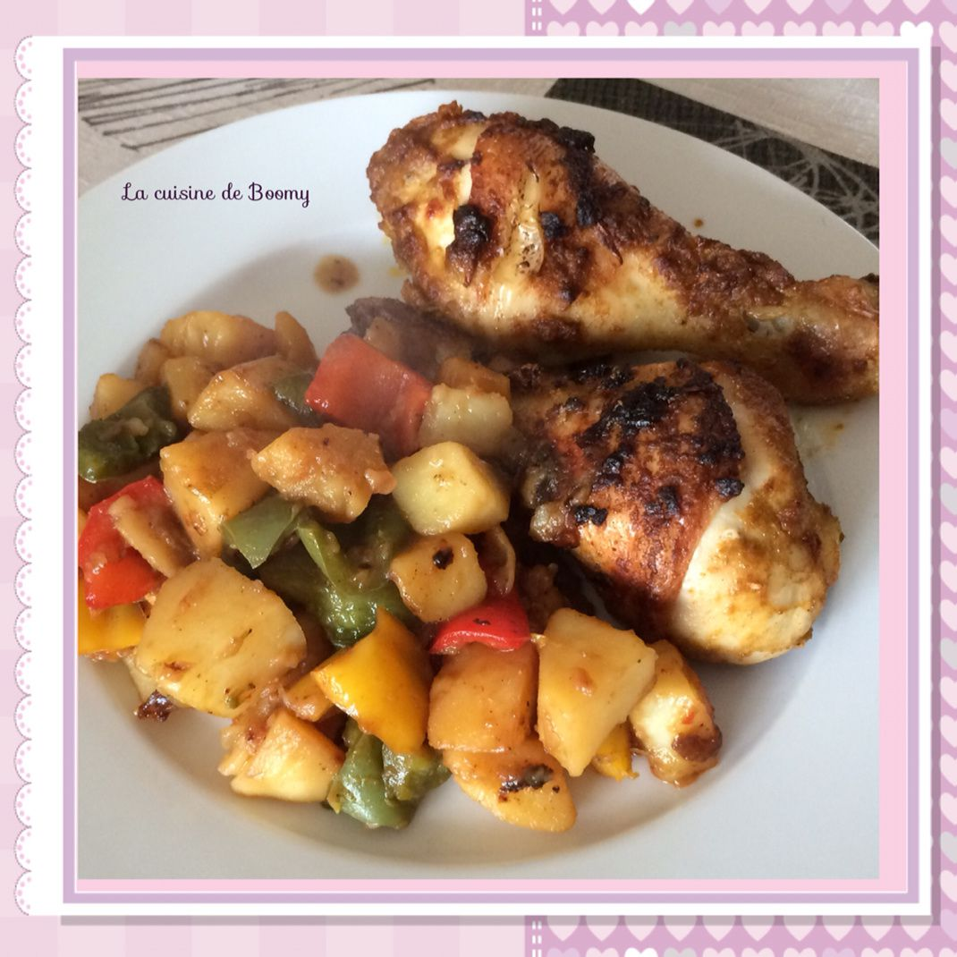Pilons de poulet aux épices et poêlée de pommes de terres aux poivrons