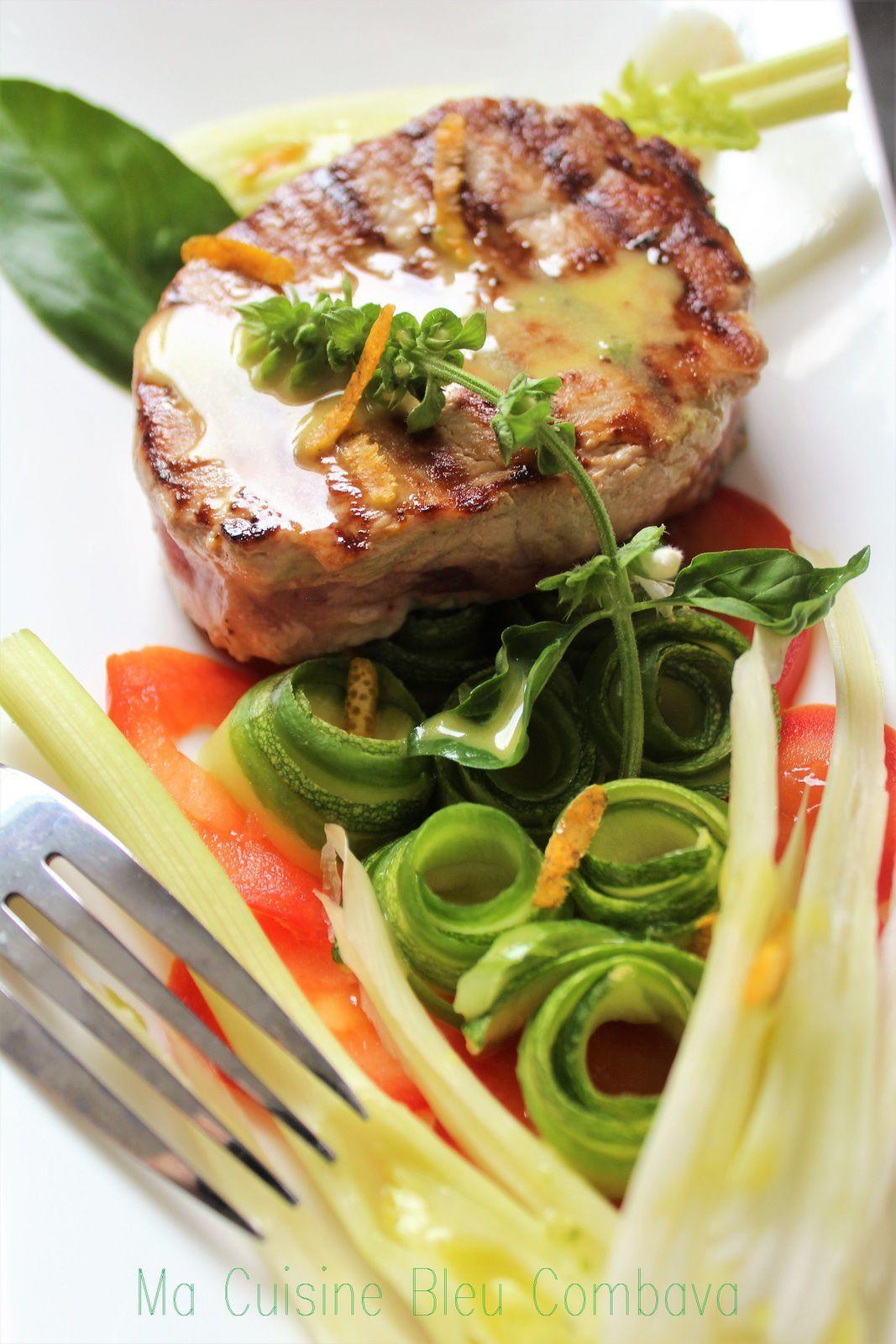Mi-Cuit de Thon mariné à l'Orange-Croquant de Légumes- Émulsion Olive, Orange & Basilic