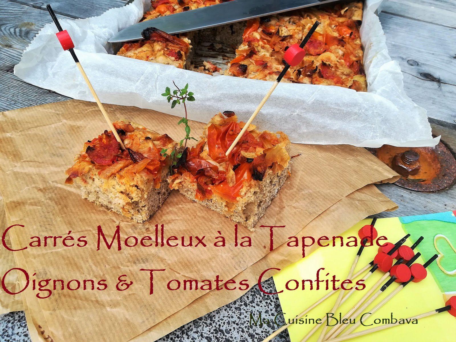Carrés moelleux à la Tapenade, garniture Oignons et Tomates Confites