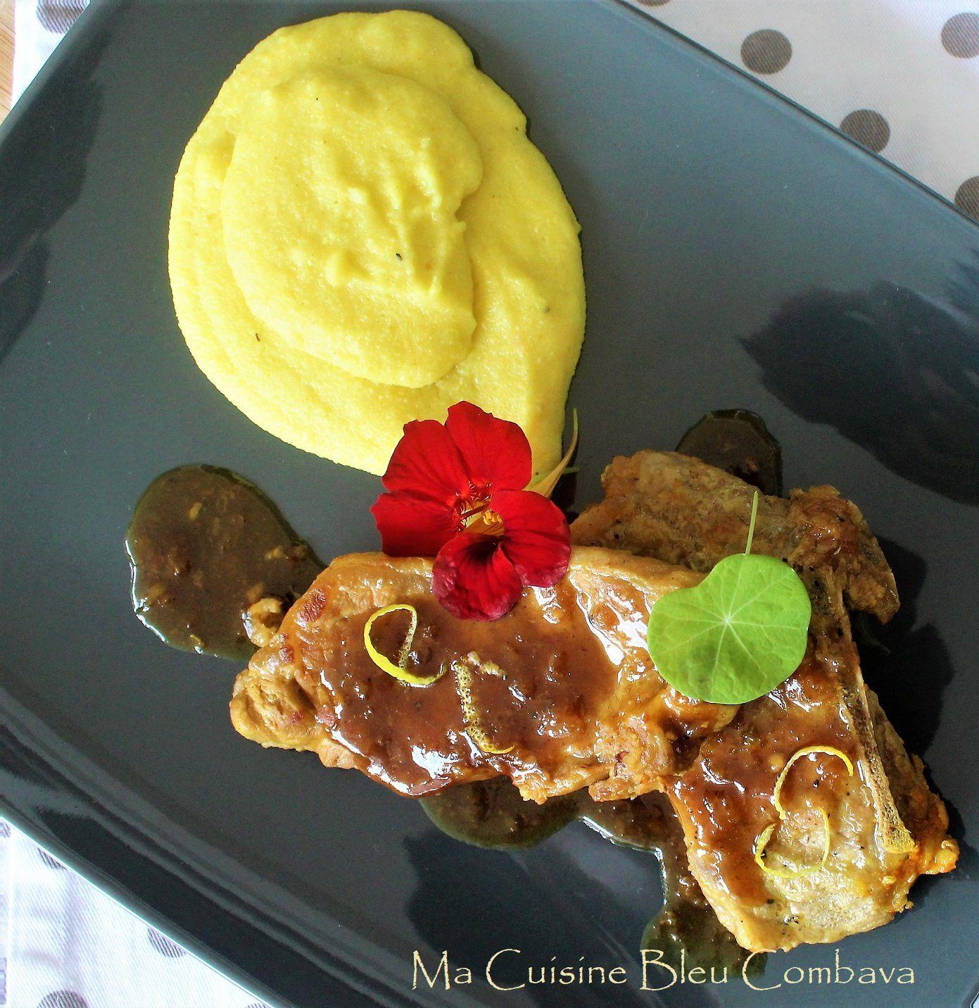 Côtes de Veau Miel~Citron~Gingembre et sa Polenta Crémeuse au Lait de Coco