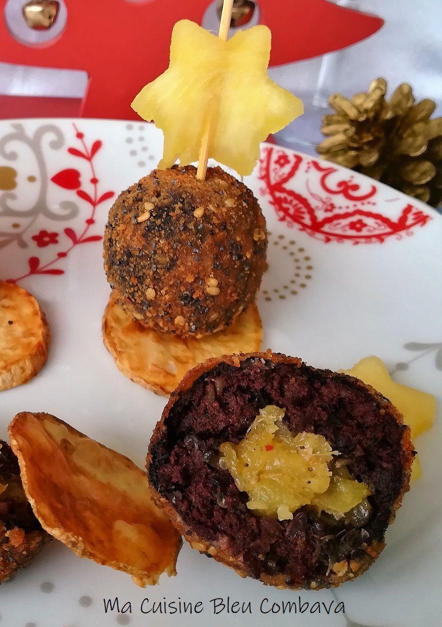 Cromesquis de Boudin Noir, Coeur Ananas