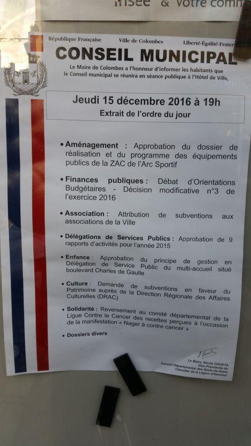 Colombes : prochain conseil Municipal le 15 décembre