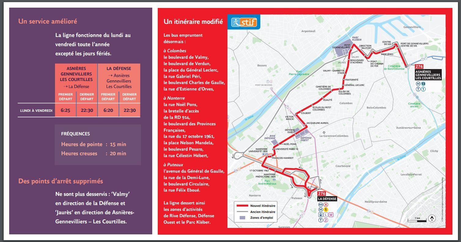 Colombes : le nouvel itinéraire du BUS 276