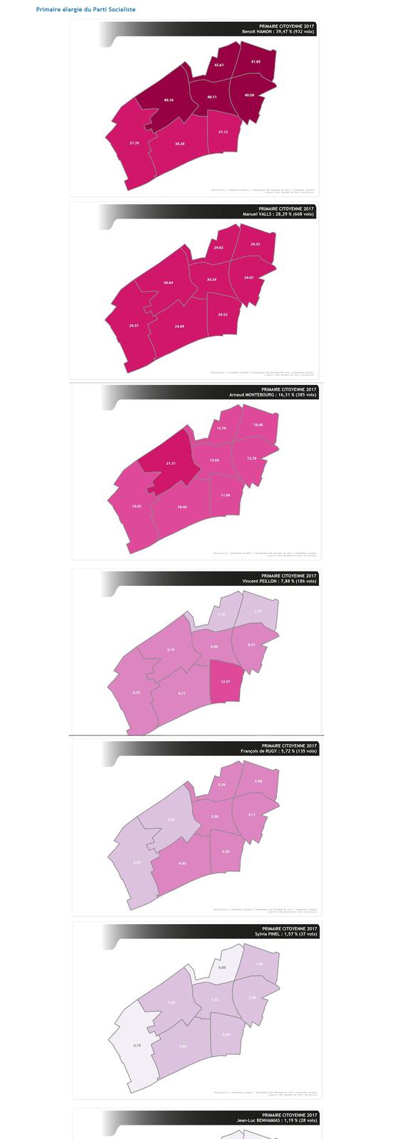 COLOMBES : découpage par bureau de vote des résultats détaillés des primaires citoyennes 2017