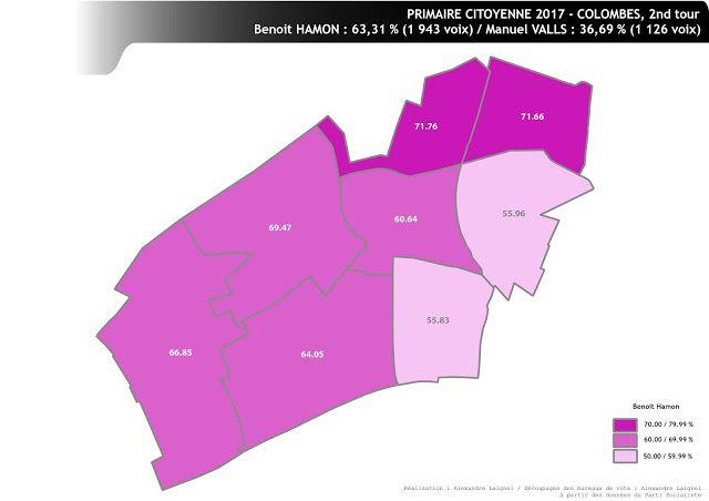 PRIMAIRE CITOYENNE - COLOMBES 2nd tour : résultats par ville pour le 92
