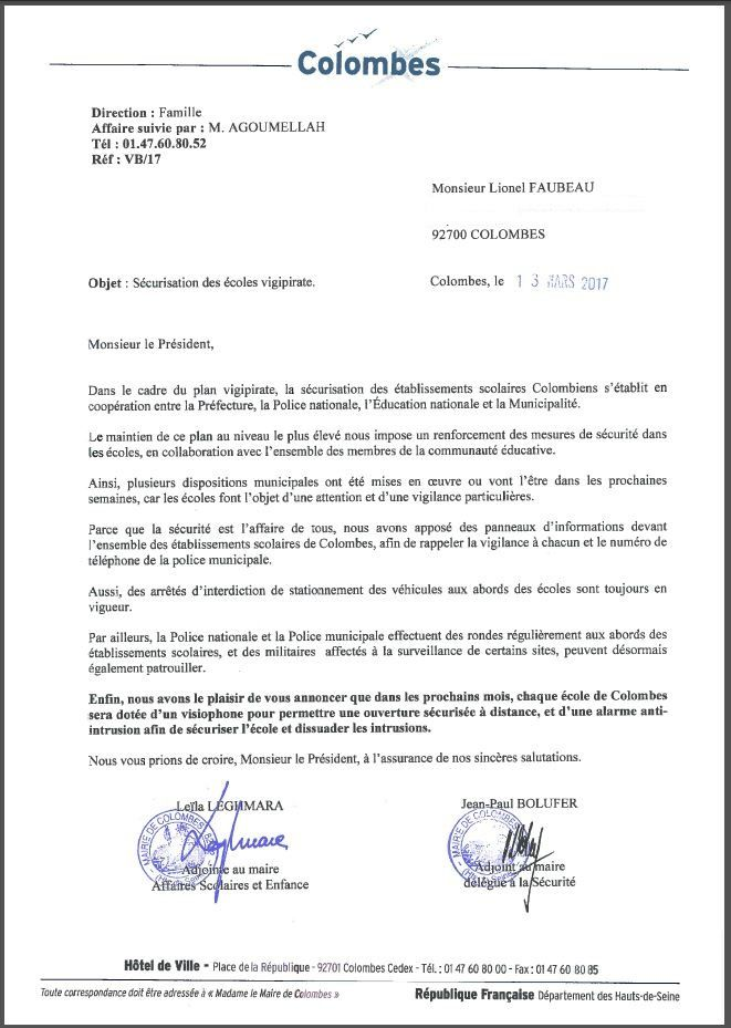 """Colombes : sécurisation des écoles """"vigipirate"""""""