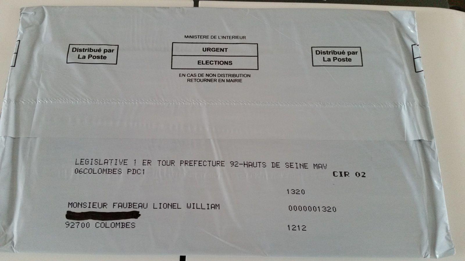 Votez dimanche pour votre Député : documents reçus aujourd'hui pour la circo 2 Hauts de Seine Asnières Colombes Sud
