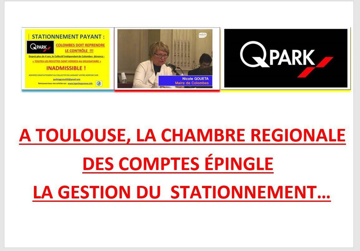 QPARK COLOMBES : A TOULOUSE, LA CHAMBRE REGIONALE DES COMPTES EPINGLE LA GESTION DU STATIONNEMENT