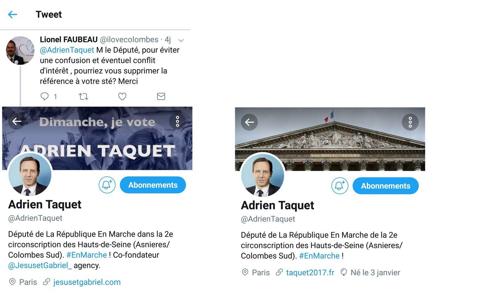 """Colombes-Asnières - merci au nouveau Député """"En Marche"""" :  Adrien Taquet d'avoir modifié son profil Twitter"""