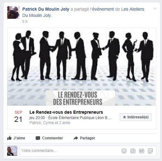 Rendez vous des entrepreneurs le jeudi 21 septembre à 20h00 à l'école élémentaire Léon Bourgeois B