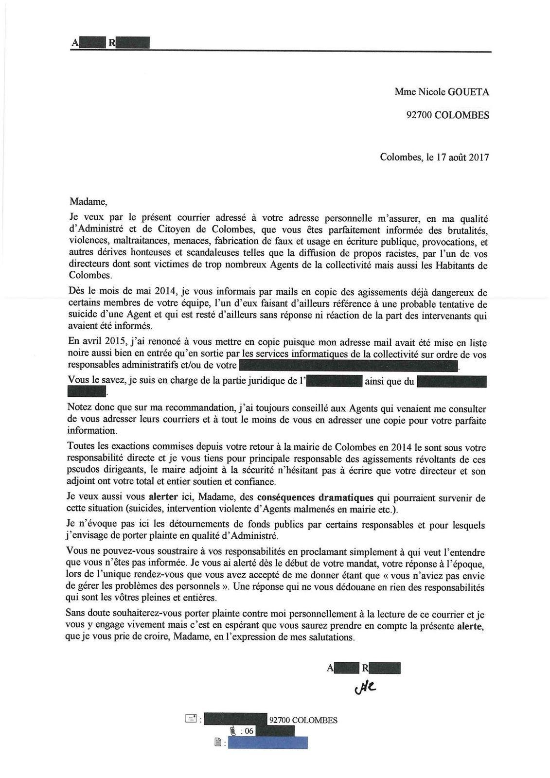 """Du rififi à la Mairie de Colombes : """"violences, maltraitances, menaces....dont sont victimes de trop nombreux agents de la collectivité"""""""