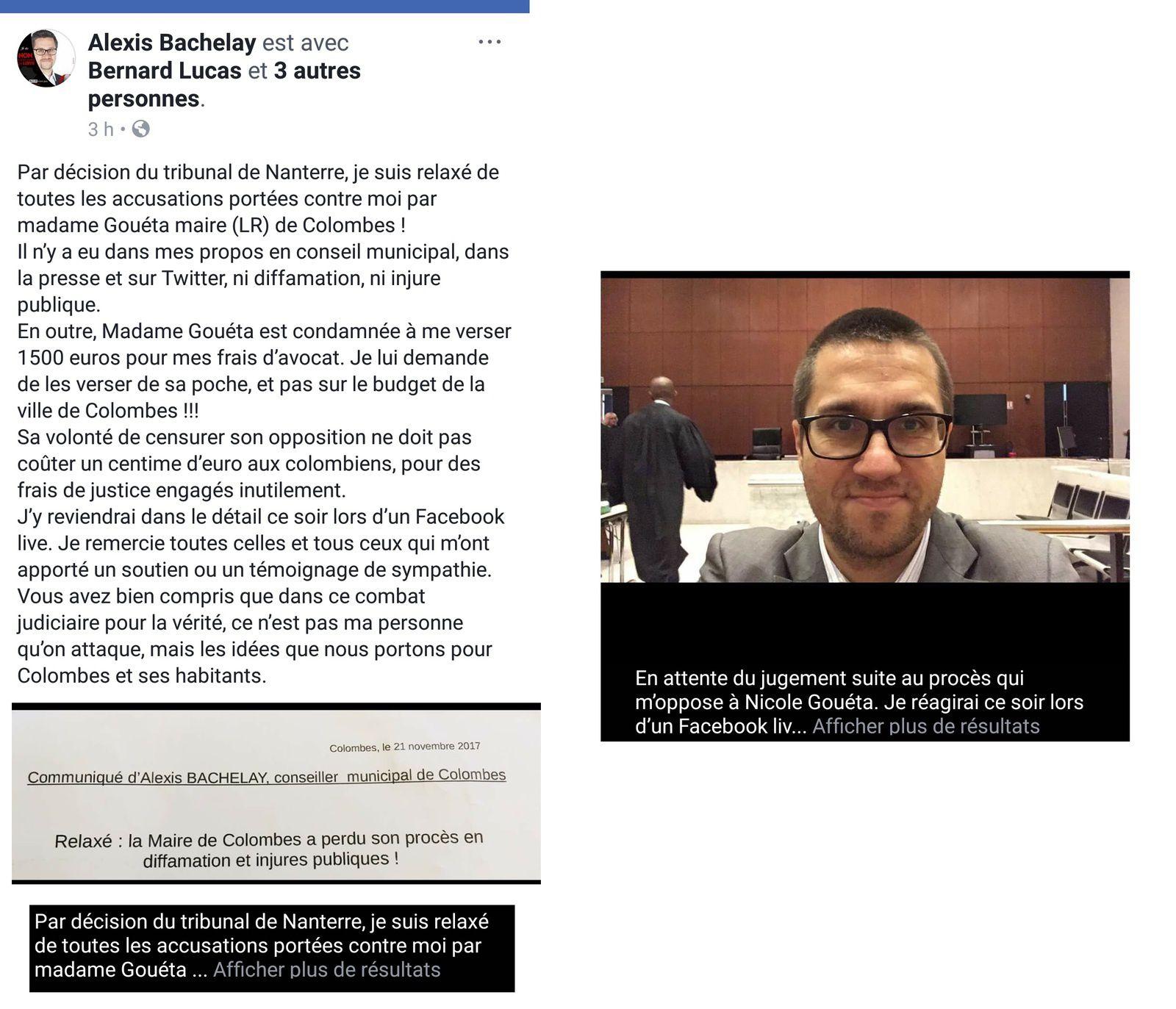 Justice : Nicole GOUETA- Maire de Colombes - condamnée à verser 1 500 € à son opposant socialiste Alexis BACHELAY